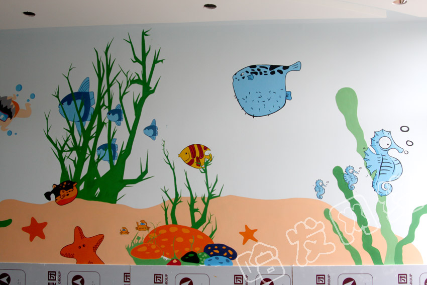 【哈发--墙体彩绘】----哈发墙绘案例--婴儿游泳馆(组图)
